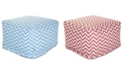 """Majestic Home Goods Chevron Ottoman Square Pouf with Removable Cover 27"""" x 17"""""""