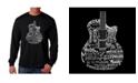 LA Pop Art Men's Word Art - Languages Guitar Long Sleeve T-Shirt