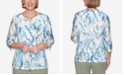 Alfred Dunner Plus Size Three Quarter Sleeve Geometric Watercolor Print Knit Top