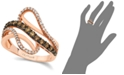 Le Vian Chocolate by Petite Chocolate and White Diamond Wave Ring (5/8 ct. t.w.) in 14k Rose Gold