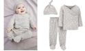 Carter's Baby Girls 3-Pc. Cotton Top, Footed Pants & Hat Set