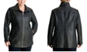 Michael Kors Plus Size Zip-Front Leather Moto Jacket, Created for Macy's