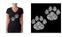 LA Pop Art Women's Word Art V-Neck Cat Mom T-Shirt