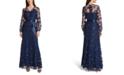 Tahari ASL V-Neck Peasant-Sleeve Gown