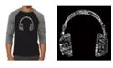 LA Pop Art Language Headphones Men's Raglan Word Art T-shirt