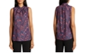 Tahari ASL Tie-Neck Printed Top