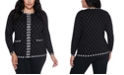 Belldini Black Label Women's Plus Size Metallic Diamond Argyle Zip up Cardigan