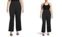 Kasper Plus Size Wide-Leg Side-Zip Pants
