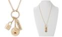 "RACHEL Rachel Roy Gold-Tone Crystal Love Multi-Charm Pendant Necklace, 26"" + 2"" extender"