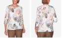 Alfred Dunner Women's Plus Size Glacier Lake Floral Knit Top