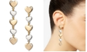 INC International Concepts INC Two-Tone Heart Linear Drop Earrings, Created for Macy's