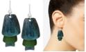 Robert Lee Morris Soho Silver-Tone Layered Blue and Green Patina Earrings