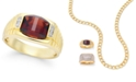 Macy's Men's Garnet (4-1/3 ct. t.w.) and Diamond Accent Ring in 10k Gold