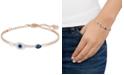 Swarovski Rose Gold-Tone Clear and Blue Crystal Evil Eye Adjustable Bangle Bracelet