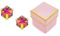Macy's Zirconia Vitrail Crystal Stud Earrings in 14k Gold