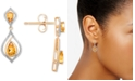 Macy's Citrine (1-1/10 ct. t.w.) & Diamond (1/5 ct. t.w.) Drop Earrings in 14k Gold