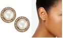 kate spade new york  Gold-Tone Pavé & Imitation Pearl Button Earrings