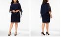 XSCAPE Plus Size Beaded Chiffon Popover Dress