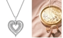 Macy's Diamond Heart Openwork Pendant Necklace (1/2 ct. t.w.) in 14k White Gold