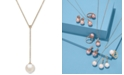 """Arabella Cultured White Ming Pearl (13mm) and Diamond Accent 18"""" Lariat Necklace in 14k Gold"""