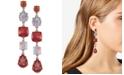 GUESS Rose Gold-Tone Colored Crystal Drop Earrings
