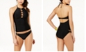 Hula Honey Juniors' Ring True High-Neck Halter Tankini Top & Strappy Bottoms, Created for Macy's