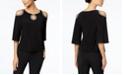 MSK Petite Embellished Cold-Shoulder Top