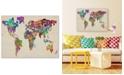"Trademark Global Michael Tompsett 'Typography World Map II' Canvas Art - 47"" x 30"""