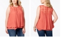 Style & Co Plus Size Lace-Yoke Crochet-Trim Tiered Top, Created for Macy's