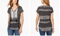 Style & Co Petite Mixed-Print Peasant Top, Created for Macy's