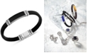 EFFY Collection EFFY® Men's Lapis Lazuli Leather Braided Bracelet in Sterling Silver (Also in Malachite or Onyx)