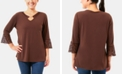 NY Collection Lace-Trim Keyhole Top