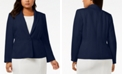 Kasper Plus Size One-Button Crepe Blazer
