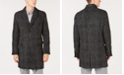 Michael Kors Men's Classic/Regular Fit Black & White Glen Plaid Top Coat