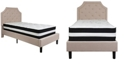 Flash Furniture Brighton Twin Size Tufted Upholstered Platform Bed In Beige Fabric With Pocket Spring Mattress