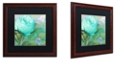 """Trademark Global Color Bakery 'Aqua Rose I' Matted Framed Art, 16"""" x 16"""""""