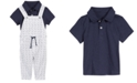 First Impressions Baby Boys 2-Pc. Shibori Striped Overalls & Polo Shirt Set, Created for Macy's