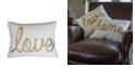"THRO ""Love"" Sequin Script Faux Linen Pillow, 14"" x 18"""