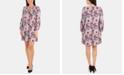 NY Collection Petite Printed Lattice-Neck Dress
