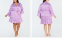 INC International Concepts I.N.C. Plus Size Satin Jacquard Flounce Wrap Robe, Created for Macy's