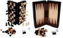 """John N. Hansen Co. Classic Game Collection - 8"""" Magnetic Dark Wood 3 in 1 Game Set"""
