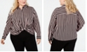 INC International Concepts I.N.C. Plus Size Striped Twist-Front Shirt, Created for Macy's
