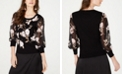 INC International Concepts I.N.C. Floral Sheer-Sleeve Sweater, Created for Macy's