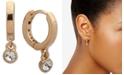 DKNY Gold-Tone Small Crystal Huggie Hoop Earrings, Created for Macy's