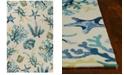 """Kas Harbor Oceana 4244 Ivory/Blue 3'3"""" x 5'3"""" Indoor/Outdoor Area Rug"""