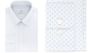 Calvin Klein Calvin Klein Men's STEEL Classic/Regular Fit Non-Iron Performance Stretch Blue Print Dress Shirt
