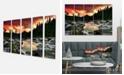 "Design Art Designart Rocky Mountain River At Sunset Extra Large Wall Art Landscape - 60"" X 28"" - 5 Panels"