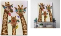 """Courtside Market Giraffe and Flower Glasses Trio Gallery-Wrapped Canvas Wall Art - 18"""" x 24"""""""