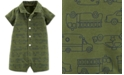 Carter's Baby Boys Rescue Vehicle-Print Cotton Romper