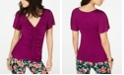 Thalia Sodi Ruched Flutter-Sleeve Top, Created for Macy's